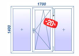 3х створчатое окно с поворотно-откидным механизмом за 7000 рублей
